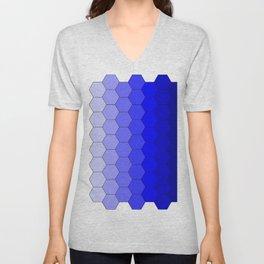 Hexagons (Blue) Unisex V-Neck