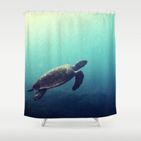 sea turtle Shower Curtains featuring Turtle by Rachel's Pet Portraits
