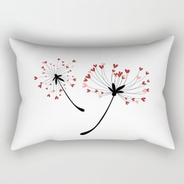 Floating Dandelion Heart Seeds by Cam Fam Creations Rectangular Pillow