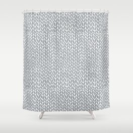 Hand Knit Light Grey Shower Curtain