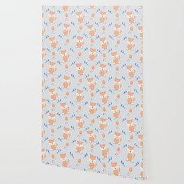 Happy Birthday Orange Fox Light Grey Background Pattern Wallpaper