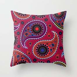 Oriental Persian Paisley, Dots - Red Blue Pink Throw Pillow
