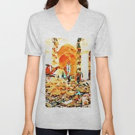 L'Aquila: bulldozer and firefighters on the rubble in the interior of church destroyed Unisex V-Neck