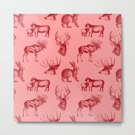 Woodland Critters in Red and Pink Metal Print