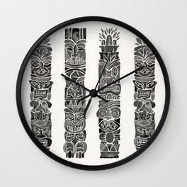 Tiki Totems – Black Wall Clock