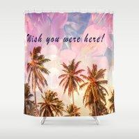 postcard Shower Curtains featuring Beach Postcard by Darcy Lynn Designs