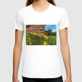 Yellow Flowers - Red Barn T-shirt