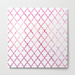 Chic modern pink watercolor quatrefoil pattern Metal Print