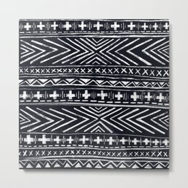 Mudcloth X and Cross Metal Print