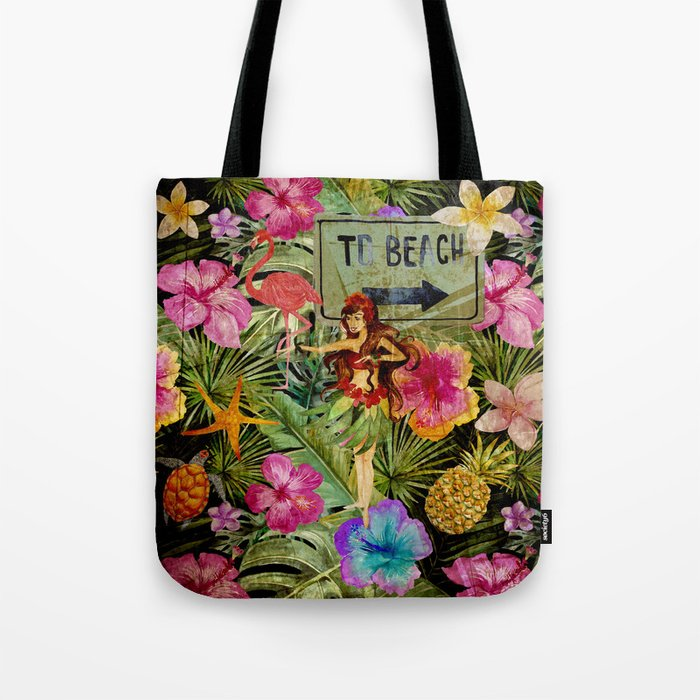 Tropical Vintage Exotic Jungle Beach Party Tote Bag
