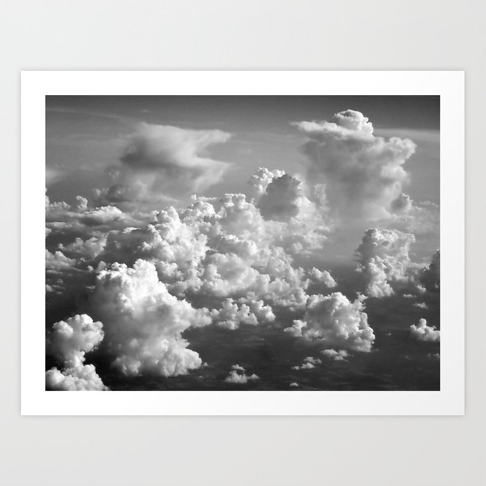 Light Dancing through Soft Clouds - Black and White Kunstdrucke