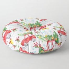 Christmas Red Car Floor Pillow