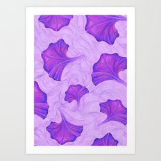 Purple Trumpet Flower Pattern - painting Art Print