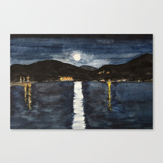 full moon by the sea Canvas Print