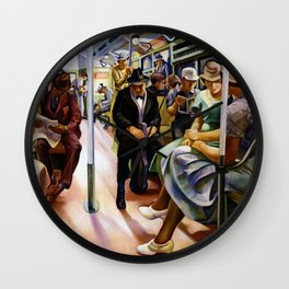 American Masterpiece 'Subway Riders' portrait painting by Lily Furedi Wall Clock