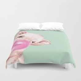 Bubble Gum Sneaky Baby Pig in Green Duvet Cover