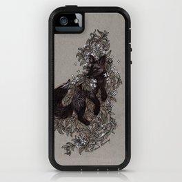 Black Fox and Star Flower Jasmine Tangle iPhone Case