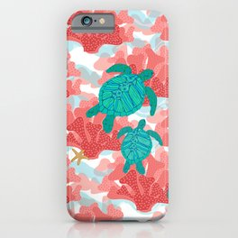 Sea Turtles in The Coral - Ocean Beach Marine iPhone Case