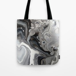 Fluid Acrylic Art - Black, Silver and White Tote Bag