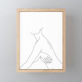 Nude figure line drawing illustration - Jada Framed Mini Art Print