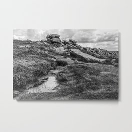 Rocky Road in Black and White Metal Print