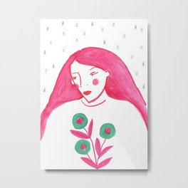 Woman Portrait, Rain and flowers Metal Print