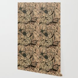 Pollock Inspired Abstract Black On Beige Corbin Art Contemporary Neutral Colors Wallpaper
