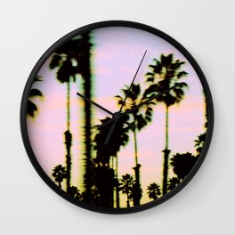 California Dreaming Palm Trees Sunset Wall Clock