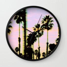 California Dreaming Palm Trees Sunset Wall Clock