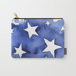 Stars Abstract Blue Watercolor Geometric Painting Carry-All Pouch
