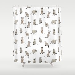 Raccoon pattern Shower Curtain