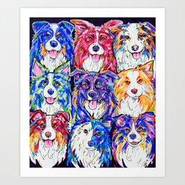 Collies in Colour Art Print