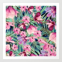 Tropical pink lavender aqua gold watercolor floral Art Print