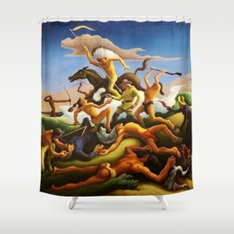 Classical Masterpiece 'Little Big Horn - Custer's Last Stand' by Thomas Hart Benton Shower Curtain
