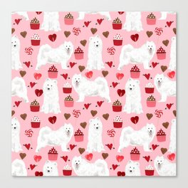 Samoyed valentines day dog portrait cute puppy dogs hearts love valentine for dog person Canvas Print