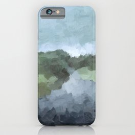 Seafoam Skies Forest Green Navy Indigo River Abstract Nature Painting Art Print Wall Decor  iPhone Case