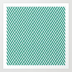 Teal Herringbone Art Print