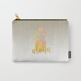 Metallic silver faux gold glitter tropical aloha pastel pineapple Carry-All Pouch
