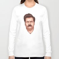 swanson Long Sleeve T-shirts featuring Swanson by Skeleton Jack