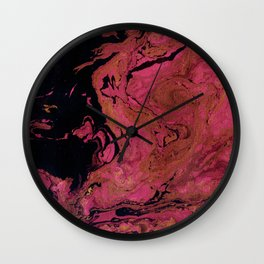Marble texture background black and cream , pink shades . Wall Clock