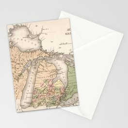 Vintage Map of The Great Lakes (1837) Stationery Cards