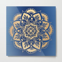 Blue and Gold Flower Mandala Metal Print