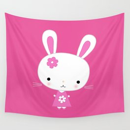 Cute Pink Kawaii Bunny on Pink Background Wall Tapestry