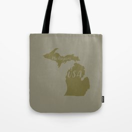 Michigan, USA Outline in Green Tote Bag