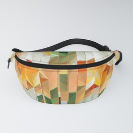 Geometric Tiled Orange Green Abstract Design Fanny Pack