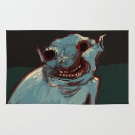 Close up troll face creature concept art illustration painting Rug