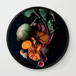 Moody Root Vegetables and Rose Wall Clock
