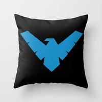 nightwing Throw Pillows featuring Minimal Superheroes - Nightwing by AlexR56