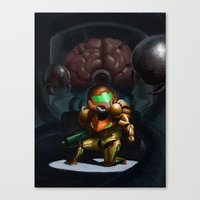 metroid Canvas Prints featuring Metroid by Adrien Le Coz