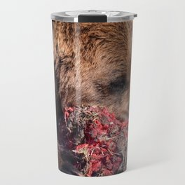 Hungry Alaskan Grizzly Bear - Eating Raw Meat Travel Mug